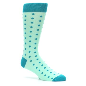 Image of Mint Jade Polka Dot Groomsmen Wedding Men's Dress Socks (side-1-26)