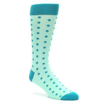 Image of Mint Jade Polka Dot Groomsmen Wedding Men's Dress Socks (side-1-27)