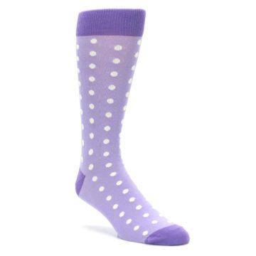 Image of Lilac Iris Purple Polka Dot Groomsmen Wedding Men's Dress Socks (side-1-front-01)