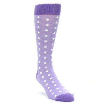 Image of Lilac Iris Purple Polka Dot Groomsmen Wedding Men's Dress Socks (side-1-front-02)