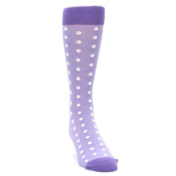Image of Lilac Iris Purple Polka Dot Groomsmen Wedding Men's Dress Socks (side-1-front-03)