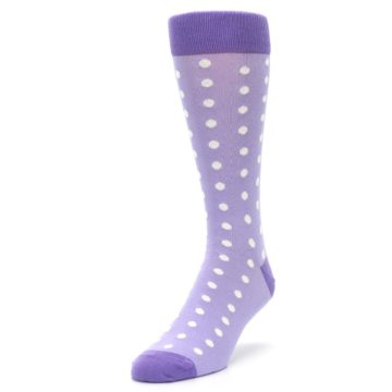 Image of Lilac Iris Purple Polka Dot Groomsmen Wedding Men's Dress Socks (side-2-front-07)
