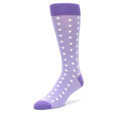 Image of Lilac Iris Purple Polka Dot Groomsmen Wedding Men's Dress Socks (side-2-front-08)