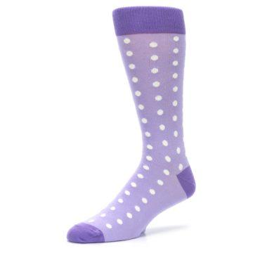 Image of Lilac Iris Purple Polka Dot Groomsmen Wedding Men's Dress Socks (side-2-09)