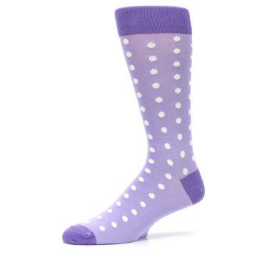 Image of Lilac Iris Purple Polka Dot Groomsmen Wedding Men's Dress Socks (side-2-10)