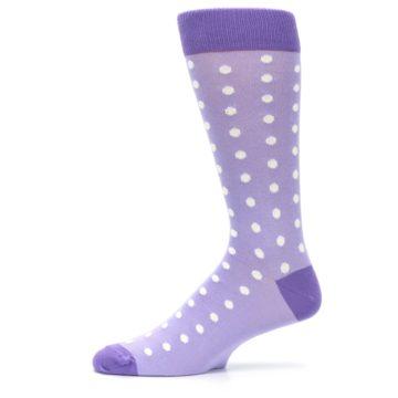 Image of Lilac Iris Purple Polka Dot Groomsmen Wedding Men's Dress Socks (side-2-11)