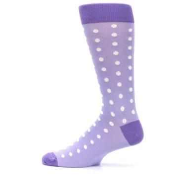 Image of Lilac Iris Purple Polka Dot Groomsmen Wedding Men's Dress Socks (side-2-12)