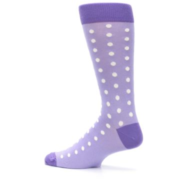 Image of Lilac Iris Purple Polka Dot Groomsmen Wedding Men's Dress Socks (side-2-13)