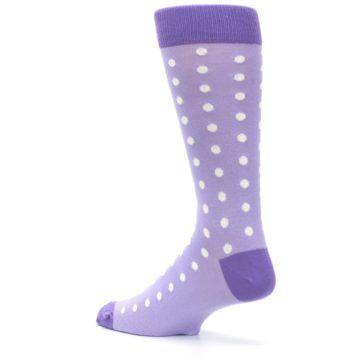 Image of Lilac Iris Purple Polka Dot Groomsmen Wedding Men's Dress Socks (side-2-back-14)