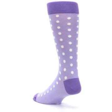 Image of Lilac Iris Purple Polka Dot Groomsmen Wedding Men's Dress Socks (side-2-back-15)