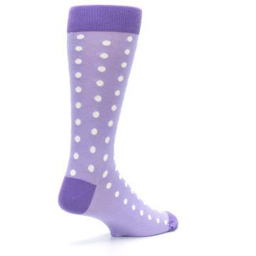 Image of Lilac Iris Purple Polka Dot Groomsmen Wedding Men's Dress Socks (side-1-back-22)