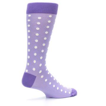 Image of Lilac Iris Purple Polka Dot Groomsmen Wedding Men's Dress Socks (side-1-23)