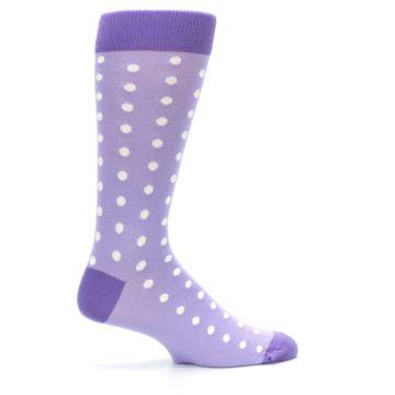 Image of Lilac Iris Purple Polka Dot Groomsmen Wedding Men's Dress Socks (side-1-24)