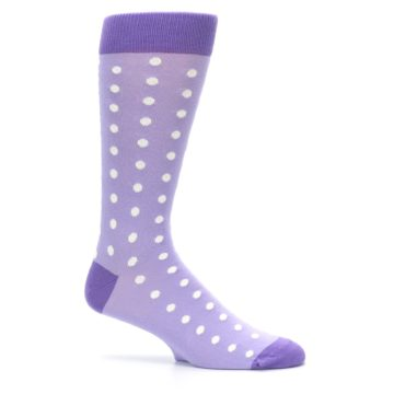 Image of Lilac Iris Purple Polka Dot Groomsmen Wedding Men's Dress Socks (side-1-25)