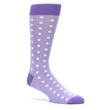 Image of Lilac Iris Purple Polka Dot Groomsmen Wedding Men's Dress Socks (side-1-26)