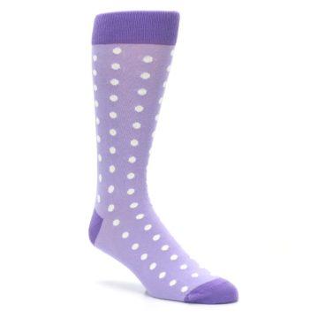 Image of Lilac Iris Purple Polka Dot Groomsmen Wedding Men's Dress Socks (side-1-27)