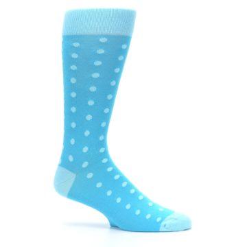 Image of Pool Malibu Polka Dot Groomsmen Wedding Men's Dress Socks (side-1-25)