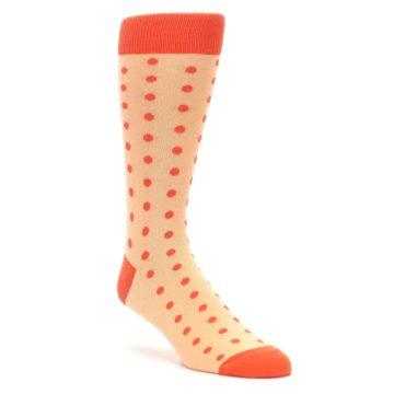 Image of Peach Papaya Polka Dot Groomsmen Wedding Men's Dress Socks (side-1-front-01)