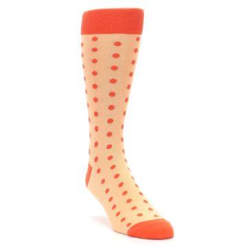 Image of Peach Papaya Polka Dot Groomsmen Wedding Men's Dress Socks (side-1-front-02)