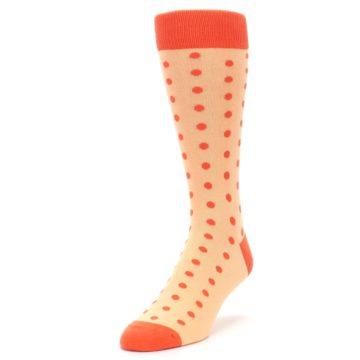 Image of Peach Papaya Polka Dot Groomsmen Wedding Men's Dress Socks (side-2-front-07)
