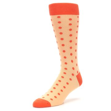 Image of Peach Papaya Polka Dot Groomsmen Wedding Men's Dress Socks (side-2-front-08)