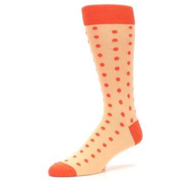 Image of Peach Papaya Polka Dot Groomsmen Wedding Men's Dress Socks (side-2-09)