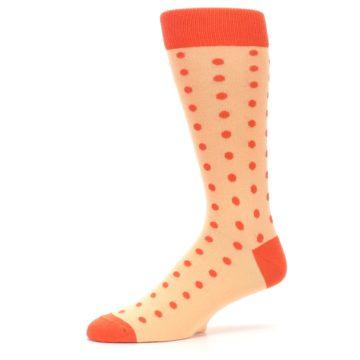Image of Peach Papaya Polka Dot Groomsmen Wedding Men's Dress Socks (side-2-10)