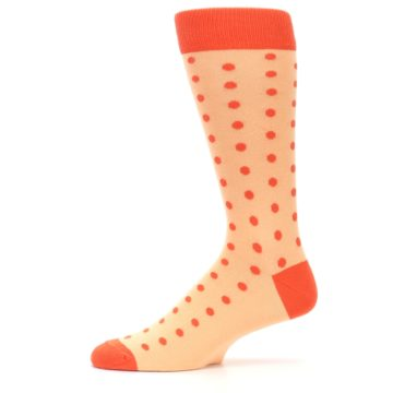 Image of Peach Papaya Polka Dot Groomsmen Wedding Men's Dress Socks (side-2-11)