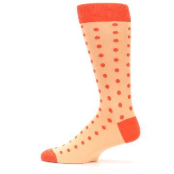 Image of Peach Papaya Polka Dot Groomsmen Wedding Men's Dress Socks (side-2-12)