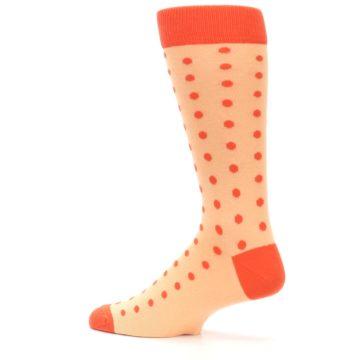 Image of Peach Papaya Polka Dot Groomsmen Wedding Men's Dress Socks (side-2-13)