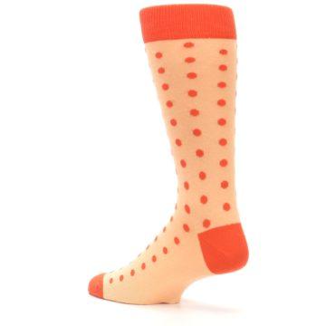 Image of Peach Papaya Polka Dot Groomsmen Wedding Men's Dress Socks (side-2-back-14)