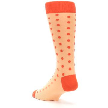 Image of Peach Papaya Polka Dot Groomsmen Wedding Men's Dress Socks (side-2-back-15)