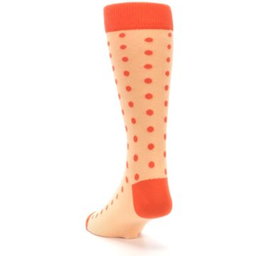 Image of Peach Papaya Polka Dot Groomsmen Wedding Men's Dress Socks (side-2-back-16)