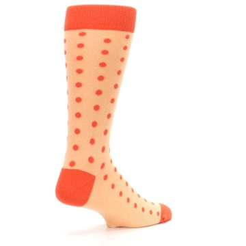 Image of Peach Papaya Polka Dot Groomsmen Wedding Men's Dress Socks (side-1-back-22)