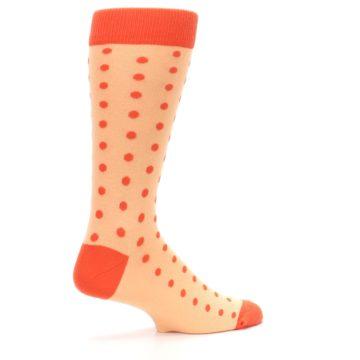 Image of Peach Papaya Polka Dot Groomsmen Wedding Men's Dress Socks (side-1-23)