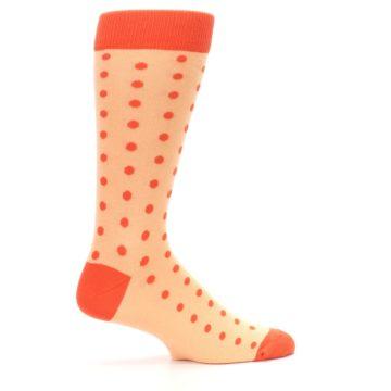 Image of Peach Papaya Polka Dot Groomsmen Wedding Men's Dress Socks (side-1-24)
