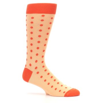 Image of Peach Papaya Polka Dot Groomsmen Wedding Men's Dress Socks (side-1-25)