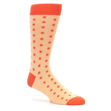 Image of Peach Papaya Polka Dot Groomsmen Wedding Men's Dress Socks (side-1-26)