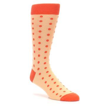 Image of Peach Papaya Polka Dot Groomsmen Wedding Men's Dress Socks (side-1-27)