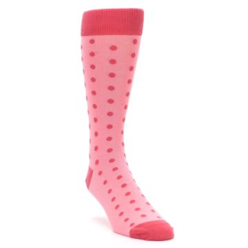 Image of Flamingo Guava Polka Dot Groomsmen Wedding Men's Dress Socks (side-1-front-02)