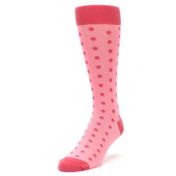 Image of Flamingo Guava Polka Dot Groomsmen Wedding Men's Dress Socks (side-2-front-07)