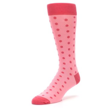 Image of Flamingo Guava Polka Dot Groomsmen Wedding Men's Dress Socks (side-2-front-08)
