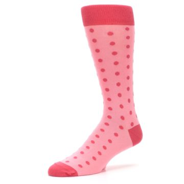 Image of Flamingo Guava Polka Dot Groomsmen Wedding Men's Dress Socks (side-2-09)