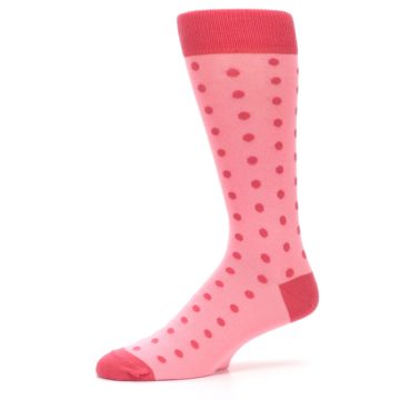 Image of Flamingo Guava Polka Dot Groomsmen Wedding Men's Dress Socks (side-2-10)