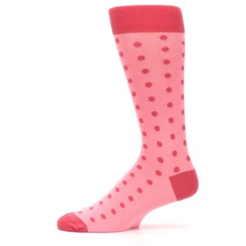 Image of Flamingo Guava Polka Dot Groomsmen Wedding Men's Dress Socks (side-2-11)