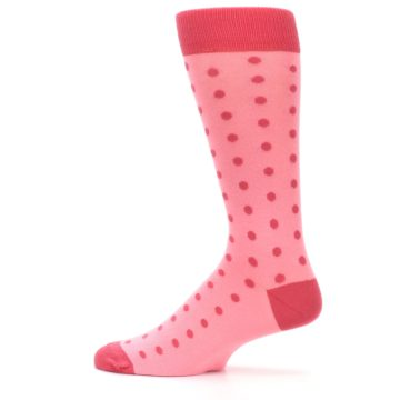 Image of Flamingo Guava Polka Dot Groomsmen Wedding Men's Dress Socks (side-2-12)