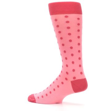 Image of Flamingo Guava Polka Dot Groomsmen Wedding Men's Dress Socks (side-2-13)