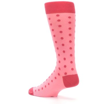 Image of Flamingo Guava Polka Dot Groomsmen Wedding Men's Dress Socks (side-2-back-14)