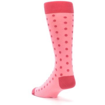 Image of Flamingo Guava Polka Dot Groomsmen Wedding Men's Dress Socks (side-2-back-15)