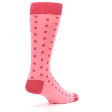 Image of Flamingo Guava Polka Dot Groomsmen Wedding Men's Dress Socks (side-1-back-22)
